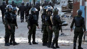 Algerian security forces take part in an operation to secure the Algerian city of Ghardaia on March 18, 2014 following sectarian violence. Clashes broke out last week between young Mozabites, indigenous Berbers belonging to the Ibadi Muslim sect, and members of the Arab Chaamba community, leaving three people dead and some 200 wounded. AFP PHOTO / FAROUK BATICHE        (Photo credit should read FAROUK BATICHE/AFP/Getty Images)