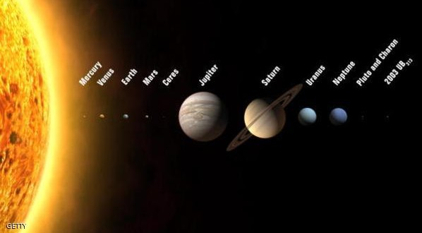 """Prague, CZECH REPUBLIC:  An artist's rendition shows the solar system with 12 planets, including three new ones to be added if astronomers meeting in the Czech capital approve a new planetary definition, the conference organizer said 16 August 2006. The proposal before the 26th general assembly of the International Astronomical Union distinguishes between eight classical planets and three bodies including Pluto in a new and growing category called """"plutons"""" - Pluto-like objects - plus a former asteroid, Ceres, the IAU said. In July 2005 a US team of astronomers announced that Pluto is much smaller than an enigmatic object, 2003 UB313, which its discoverers claim is the solar system's 10th planet, dubbed Xena, some 15 billion kilometres (nine billion miles) from Earth. The IAU conference will last until August 25.     (Photo credit should read IAU/AFP/Getty Images)"""