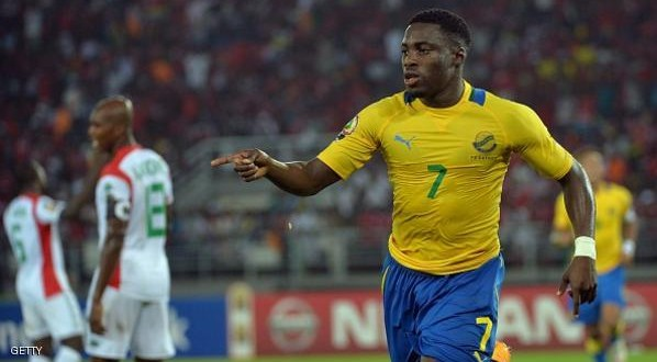 Gabon's Malick Evouna celebrates after scoring a goal during the 2015 African Cup of Nations group A football match between Burkina Faso and Gabon at Bata Stadium in Bata on January 17, 2015. AFP PHOTO / KHALED DESOUKI        (Photo credit should read KHALED DESOUKI/AFP/Getty Images)