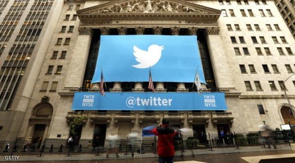 """NEW YORK, UNITED STATES - NOVEMBER 7: Twitter shares have closed at $44.90 a share on its first day of trading, 73 percent above its initial offering price on November 7, 2013 in New York. The stock is trading on the New York Stock Exchange under the symbol """"TWTR"""".  (Photo By Bilgin S. Sasmaz/Anadolu Agency/Getty Images)"""