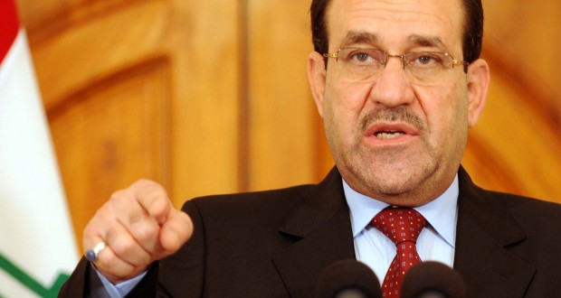 """Iraqi's Prime Minister Nuri al-Maliki speaks at a news conference in Baghdad April 19, 2010. Iraqi security forces backed by U.S. troops killed al Qaeda's top two leaders in Iraq in what the U.S. military described on Monday as a """"potentially devastating blow"""" to the militant group. UPI/Iraqi Government/Handout"""