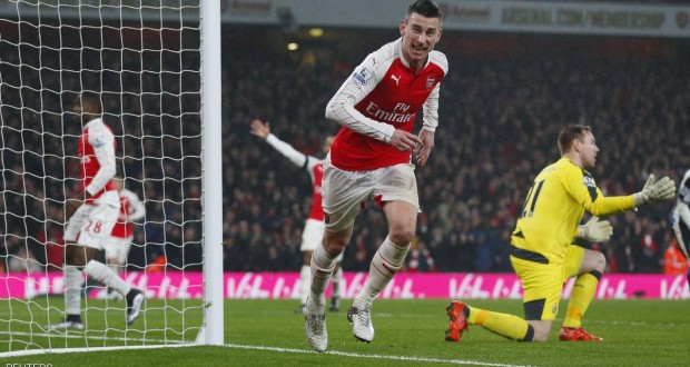 """Football Soccer - Arsenal v Newcastle United - Barclays Premier League - Emirates Stadium - 2/1/16 Laurent Koscielny celebrates after scoring the first goal for Arsenal Reuters / Eddie Keogh Livepic EDITORIAL USE ONLY. No use with unauthorized audio, video, data, fixture lists, club/league logos or """"live"""" services. Online in-match use limited to 45 images, no video emulation. No use in betting, games or single club/league/player publications.  Please contact your account representative for further details."""
