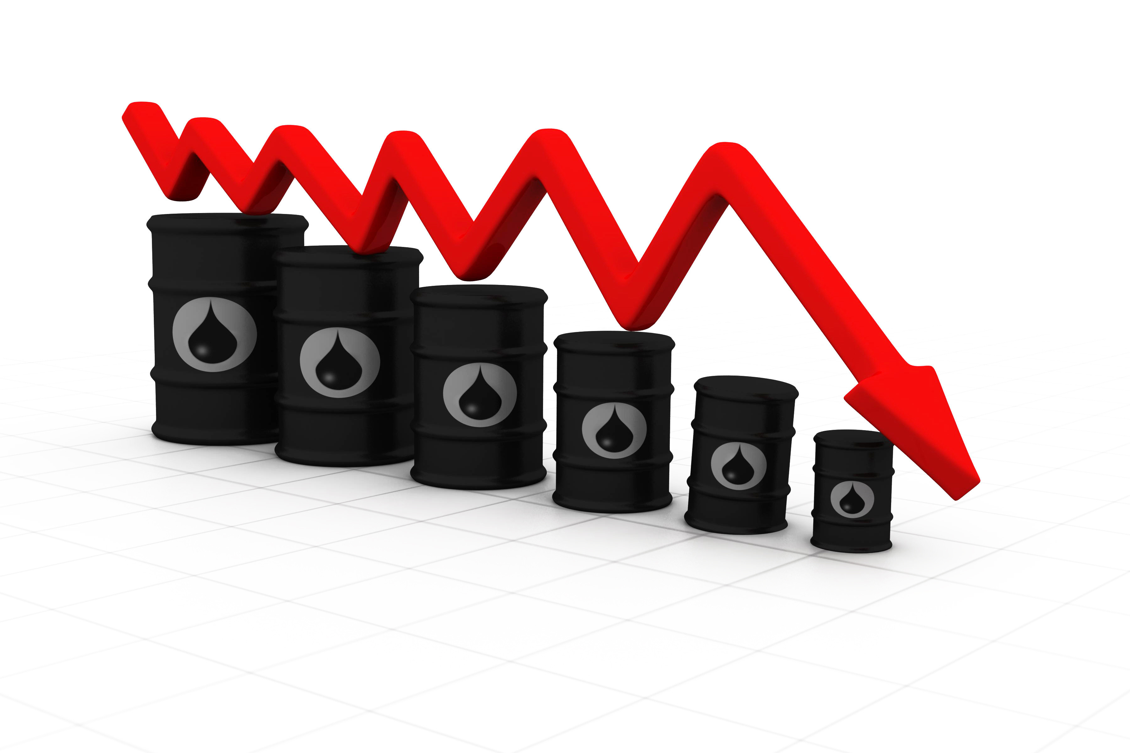 Oil barrels with arrow down. Oil price fall