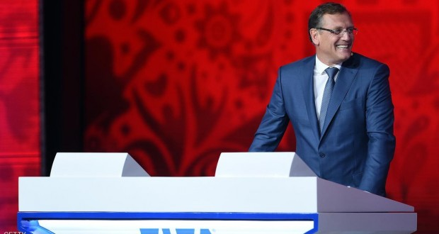 SAINT PETERSBURG, RUSSIA - JULY 25:  FIFA Secretary-General Jerome Valcke smiles during the Preliminary Draw of the 2018 FIFA World Cup in Russia at The Konstantin Palace on July 25, 2015 in Saint Petersburg, Russia.  (Photo by Dennis Grombkowski/Getty Images)