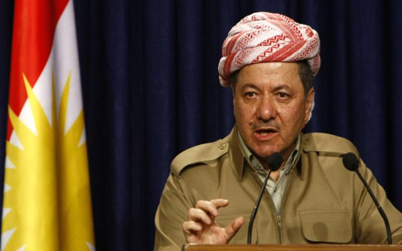 Massud Barzani, president of the autonomous northern Kurdish region in Iraq, addresses the media after his meeting with Shiite leader Ammar al-Hakim of the influential Supreme Iraqi Islamic Council in Arbil, the Kurdish capital of northern Iraq, on March 17, 2012. AFP PHOTO / SAFIN HAMED (Photo credit should read SAFIN HAMED/AFP/Getty Images)
