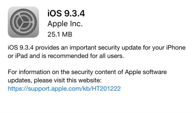 إطلاق تحديث iOS 9.3.4 لهواتف آيفون