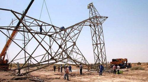 خطين للكهرباء عن الخدمة بعمل ارهابي